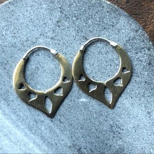 NEW Modern Tribal brass & silver handmade earrings